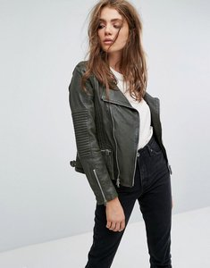 Read more about Goosecraft drape collar zip detail leather jacket - green