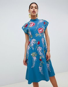 Read more about Asos design midi dress with rose embroidery - blue