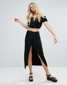 Read more about Bershka wrap front midi skirt - black