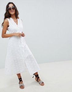 Read more about Asos design sleeveless broderie button through midaxi dress - white