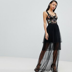 Read more about Asos tall embroidered corset maxi prom dress - black
