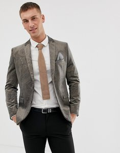 Read more about Harry brown dove grey velvet and gold embossed skinny fit suit jacket - grey