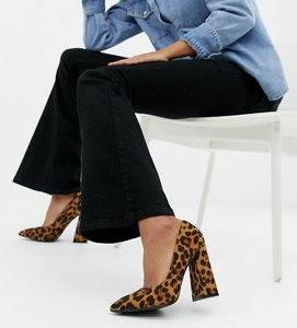 Read more about Lost ink wide fit amber leopard print block heeled shoes - multi