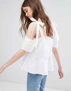 Read more about Miss selfridge tie shoulder top - ivory
