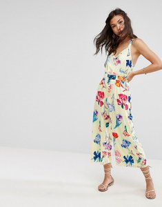 Read more about Asos jumpsuit with frill and wide leg in floral print - yellow floral