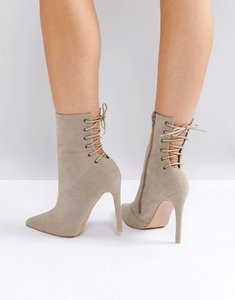 Read more about Public desire kilburn grey lace up heeled ankle boots - taupe