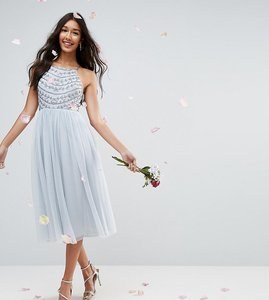 Read more about Asos design tall delicate beaded strappy back midi dress - grey