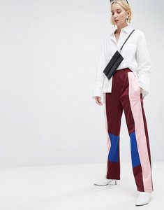 Read more about Asos track pant trousers with colour block detail - burgundy