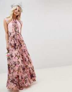 Read more about Asos design pleated short sleeved maxi dress in pink floral print - pink floral print