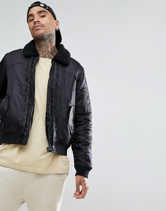 Read more about Black kaviar bomber jacket in black with borg collar - black