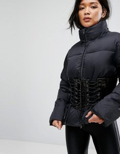 Read more about Asos puffer jacket with vinyl corset - black