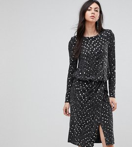Read more about Flounce london tall sequin midi dress with shoulder pads - black silver