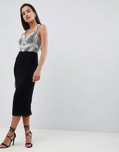 Read more about Asos design pearl basque pencil midi dress - black