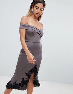 Read more about Ax paris off shoulder midi dress with lace detail - pewter