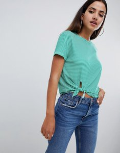 Read more about Missguided striped knot front top - green