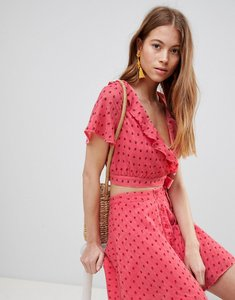 Read more about Glamorous crop top with frill collar and tie side in ditsy rose co-ord - coral rosebud