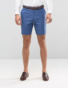 Read more about Asos slim tailored shorts in denim blue washed cotton - denim blue