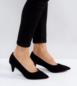 Read more about Asos southern wide fit pointed kitten heels - black