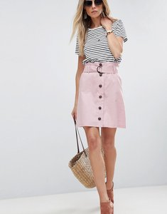 Read more about Asos tailored linen paperbag mini skirt - nude