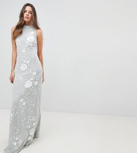 Read more about Frock and frill tall premium all over embellished high neck trophy maxi dress - grey white