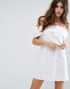 Read more about Asos one shoulder fold white cotton poplin dress - white