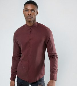 Read more about Asos tall regular fit tencel shirt with grandad collar in burgundy - burgundy