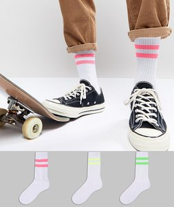Read more about Asos sports style socks with neon stripes 3 pack - multi