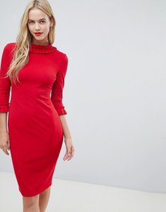 Read more about City goddess 3 4 sleeve pencil midi dress with pleated detail - red