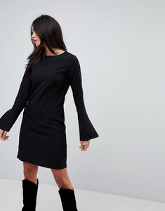 Read more about Vila fluted sleeve dress - black