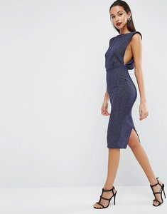 Read more about Asos low armhole glitter midi bodycon dress - navy