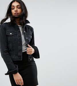 Read more about Asos tall denim shrunken jacket in washed black - washed black