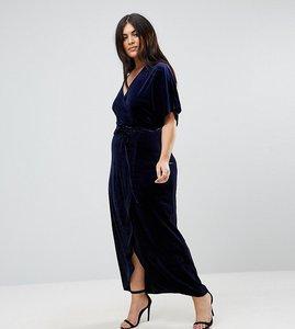 Read more about Missguided plus velvet wrap over maxi dress - blue