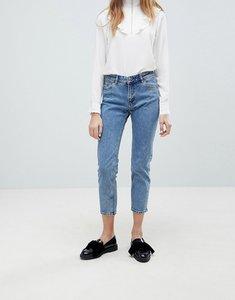 Read more about Monki monokomi cropped straight leg jeans - light blue