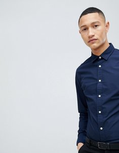Read more about Selected homme slim contrast button shirt - navy blazer