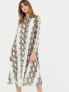 Read more about Asos design pleated trapeze midi dress in snake print with tie neck