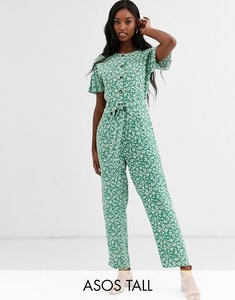 Read more about Asos design tall button front jumpsuit with tie waist in ditsy floral print