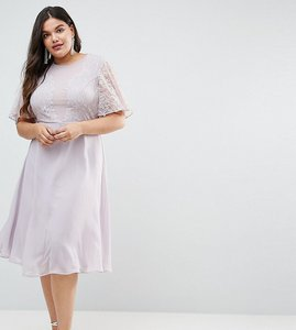Read more about Asos design curve bridesmaid delicate lace applique midi dress - dusty lilac