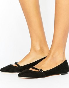 Read more about Oasis pointed buckle t-bar shoes - black
