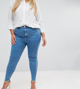 Read more about Asos design curve ridley high waist skinny jeans in light wash - lily pretty mid wash