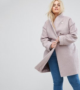 Read more about Asos curve textured throw on coat - pink