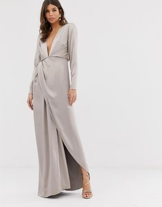 Read more about Asos edition split side plunge maxi dress in satin