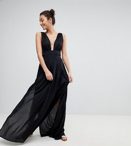 Read more about Asos design tall grecian plunge maxi woven beach dress - black
