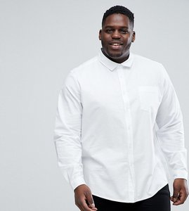 Read more about Asos plus stretch regular fit oxford shirt in white - white