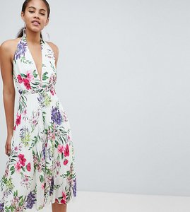 Read more about John zack tall allover printed halterneck midi dress - floral multi