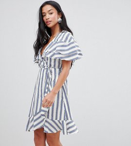 Read more about River island petite wrap front frill midi dress