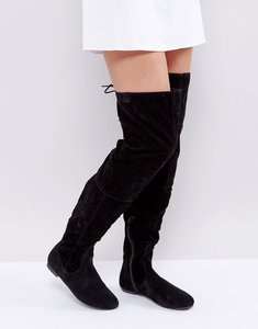 Read more about Daisy street lace back black over the knee boots - black