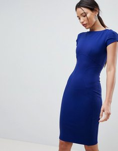 Read more about Closet london pencil dress with ruched cap sleeve in blue - cobalt