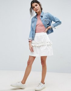 Read more about Asos mini skirt in twill with frill detail - ivory white