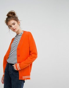 Read more about E l k relaxed boyfriend cardigan with sports stripe - orange with white