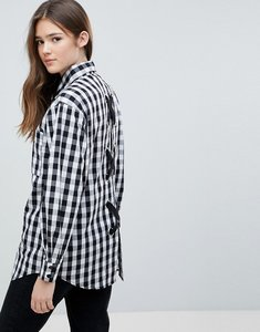 Read more about Glamorous gingham shirt with lace up back detail - black gingham